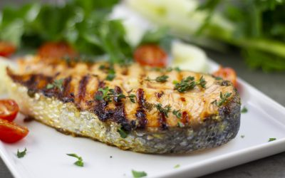 Grilled Salmon with Mustard and Fresh Herbs