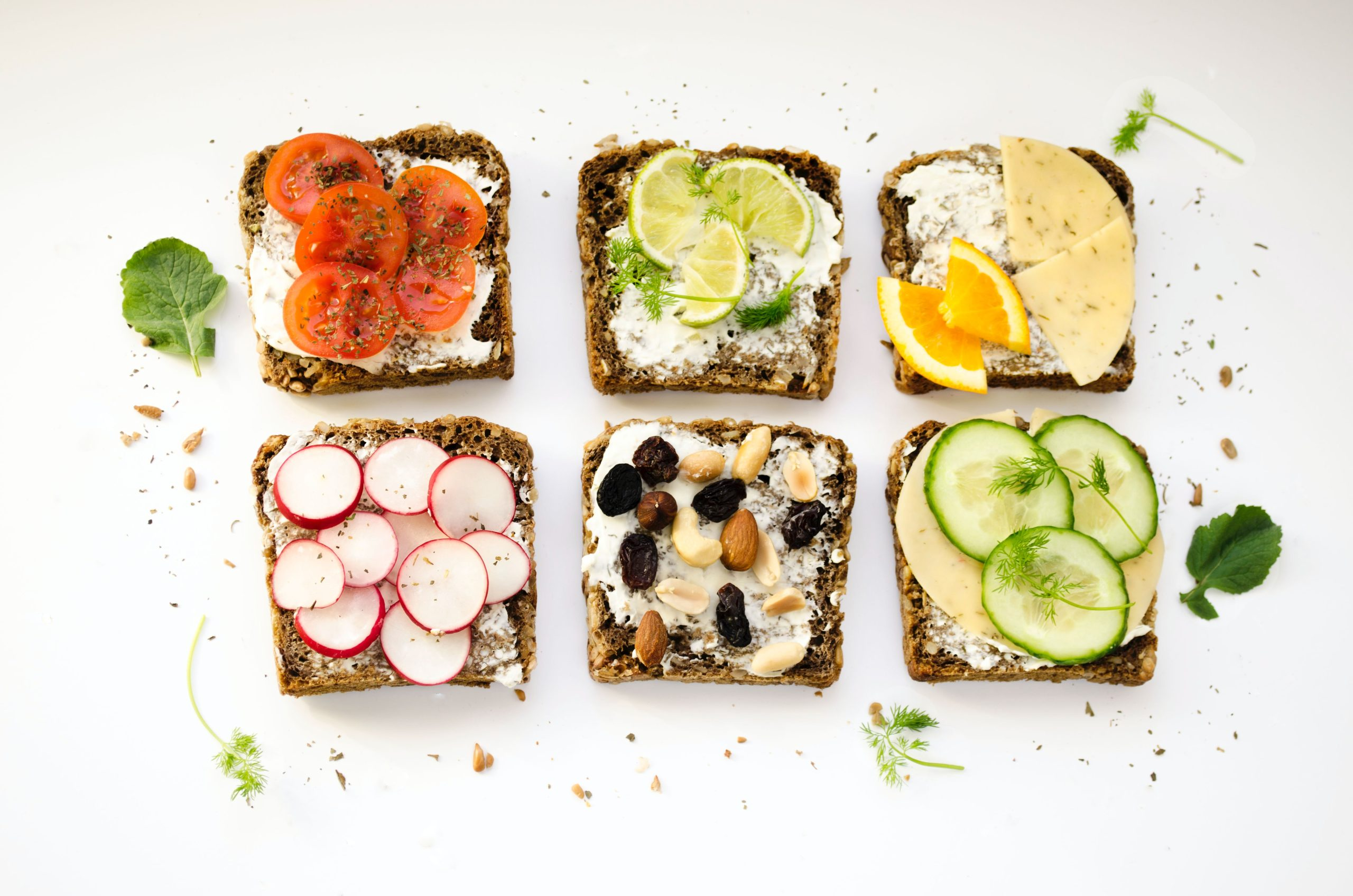 A Variety of Toasts with Fruits